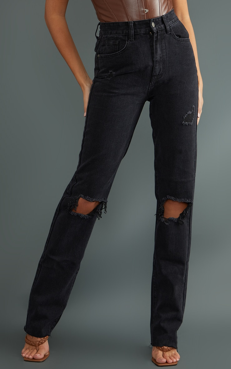 PRETTYLITTLETHING Tall Washed Black Ripped Long Leg Straight Jeans 2
