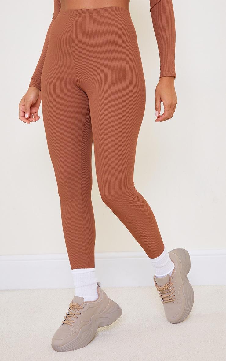 Chocolate Brown Rib High Waist Leggings 2