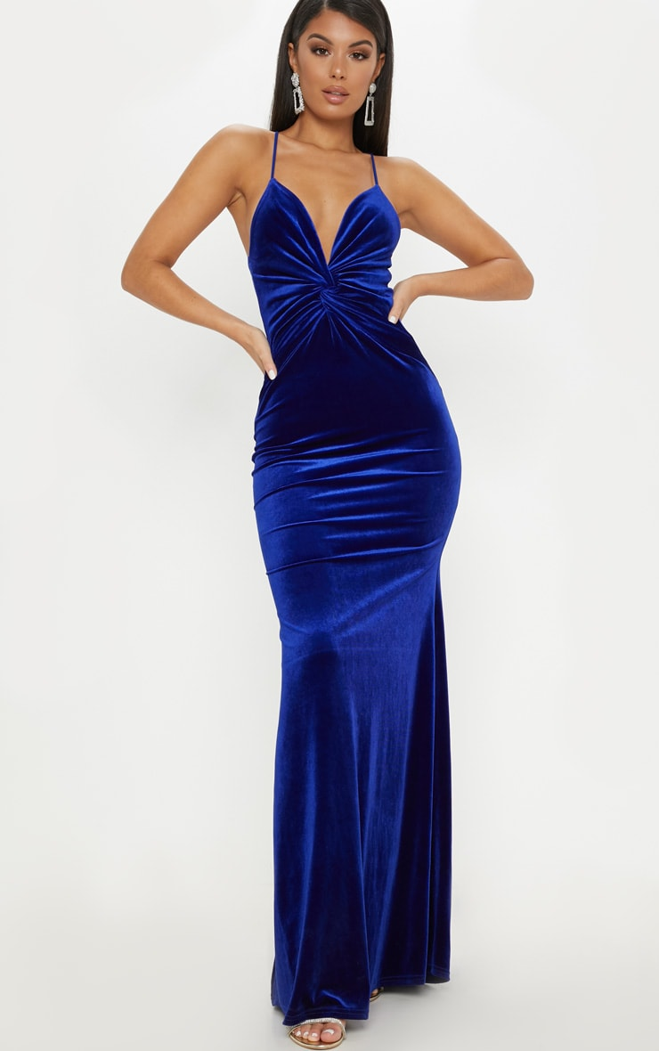 Cobalt Velvet Knot Front Maxi Dress