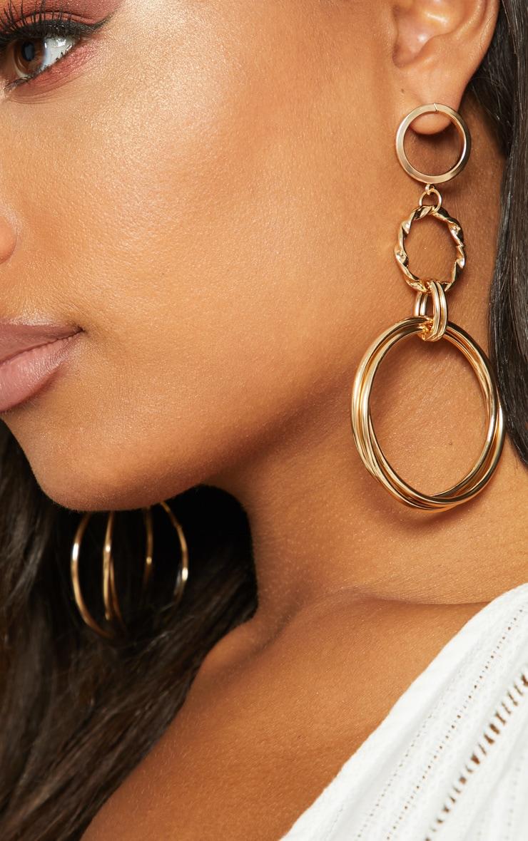 Gold Hoop Drop Earrings 2