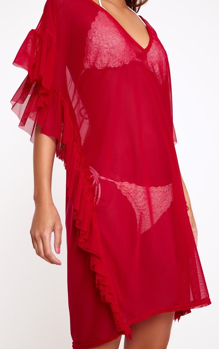 Red Mesh Frill Deep Plunge Beach Cover Dress 5