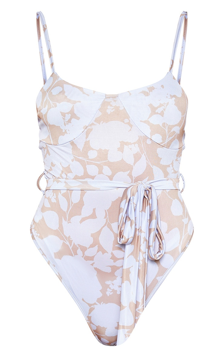 Mauve Floral Printed Cup Detail Sleeveless Bodysuit 2