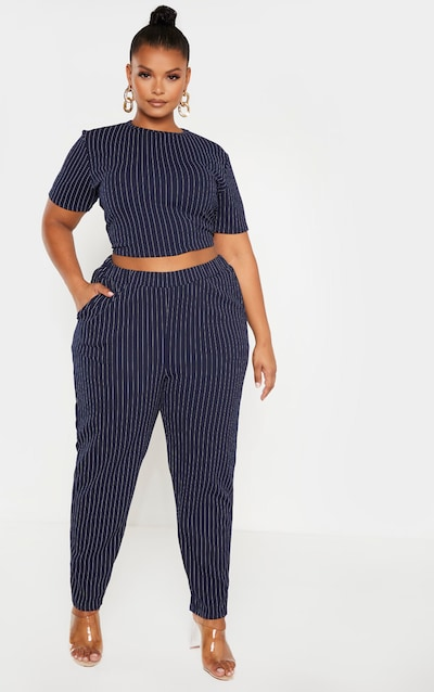Plus Navy Pinstriped Straight Leg Trouser