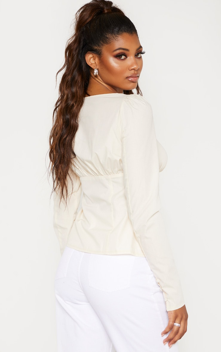 Tall Cream Button Detail Sweetheart Blouse  2