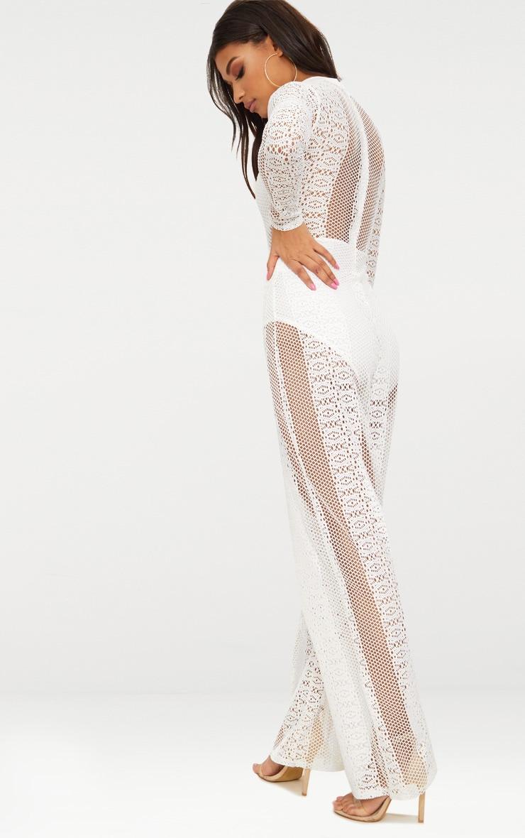 White Lace High Neck Bra Insert Jumpsuit 2