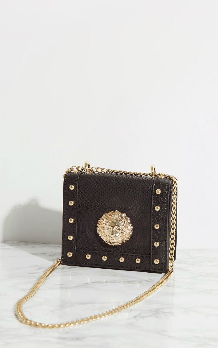 Black Lion Stud Chain Cross Body Bag 4
