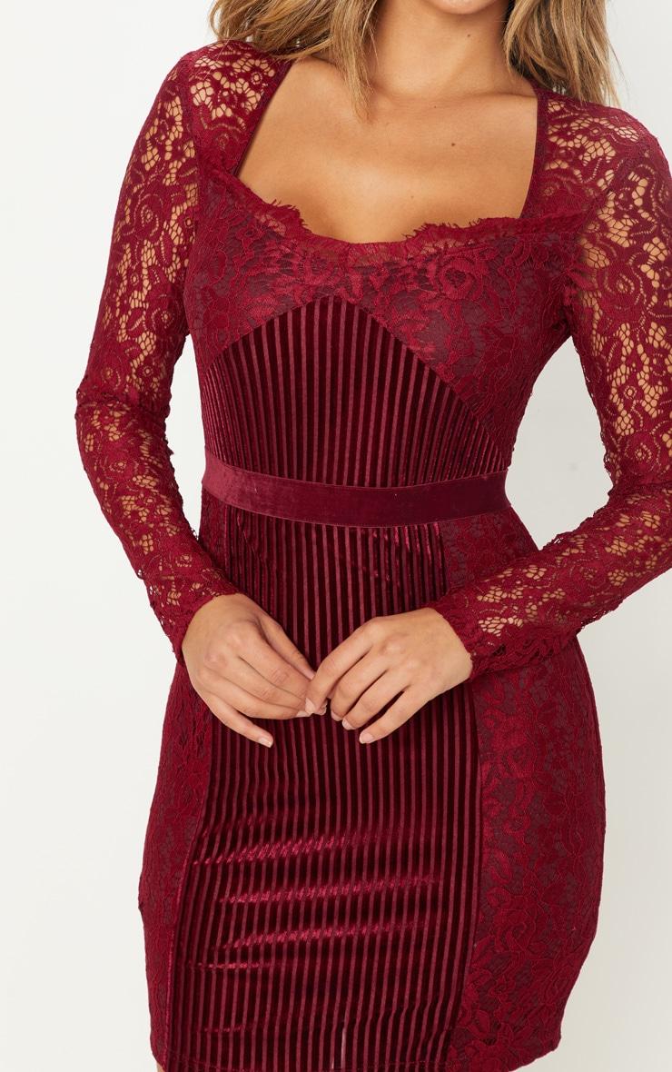 Burgundy Lace Velvet Insert Bodycon Dress 5