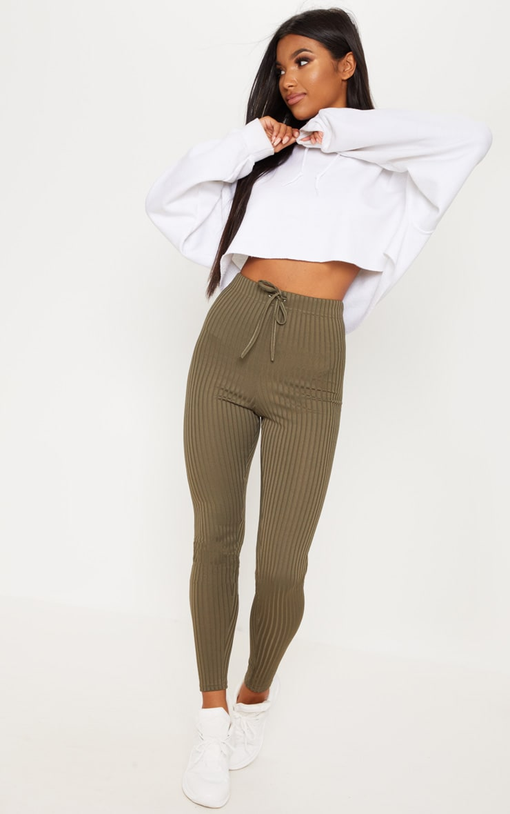 Khaki Ribbed Tie Detail Legging