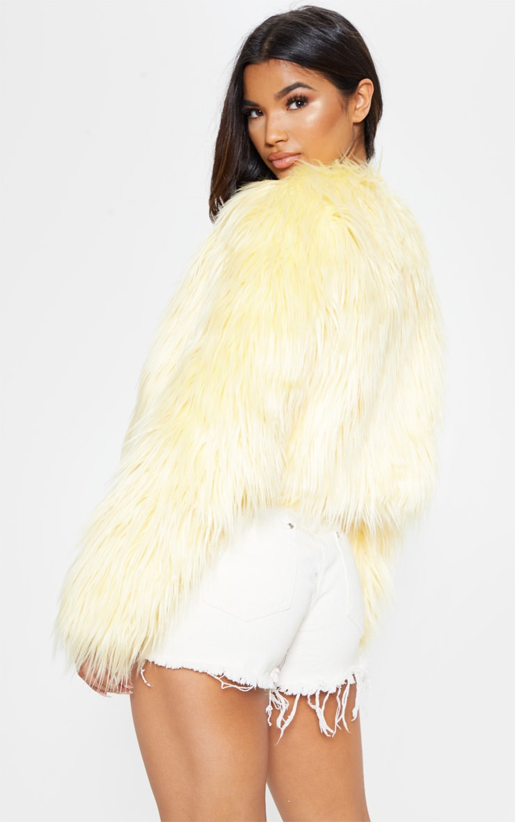 Yellow Cropped Shaggy Faux Fur Jacket  2