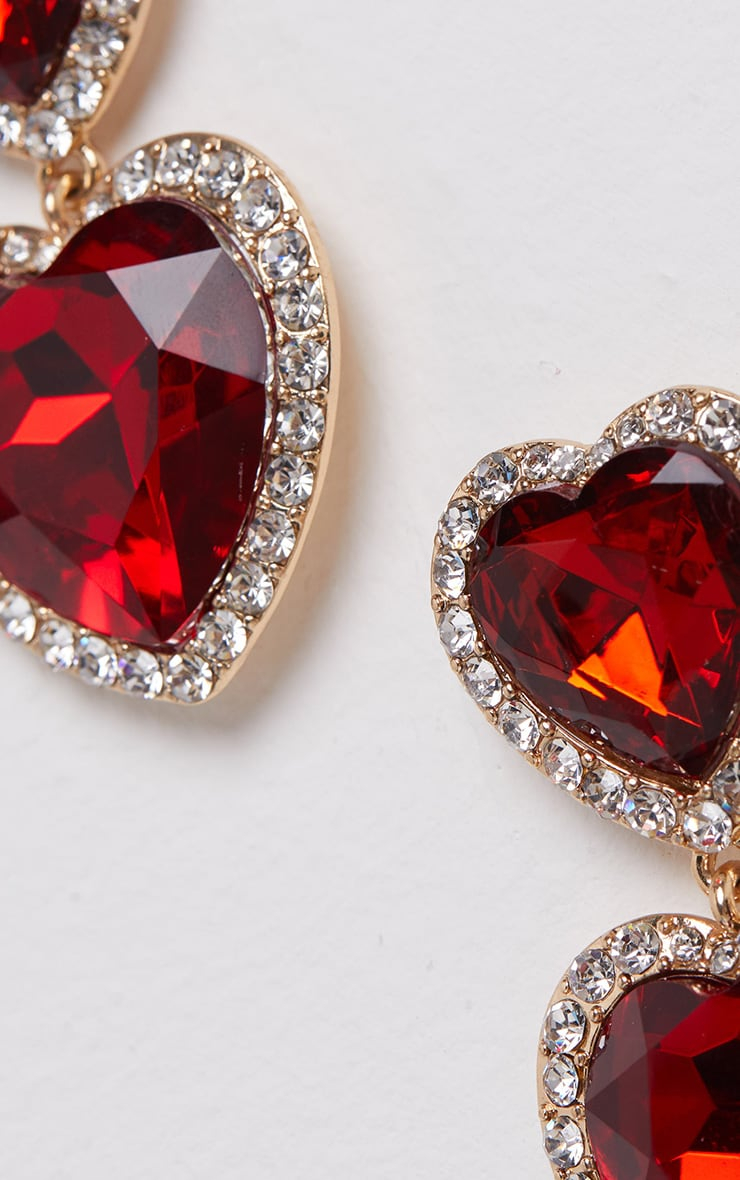 Red Heart Gemstone Statement Earrings 3