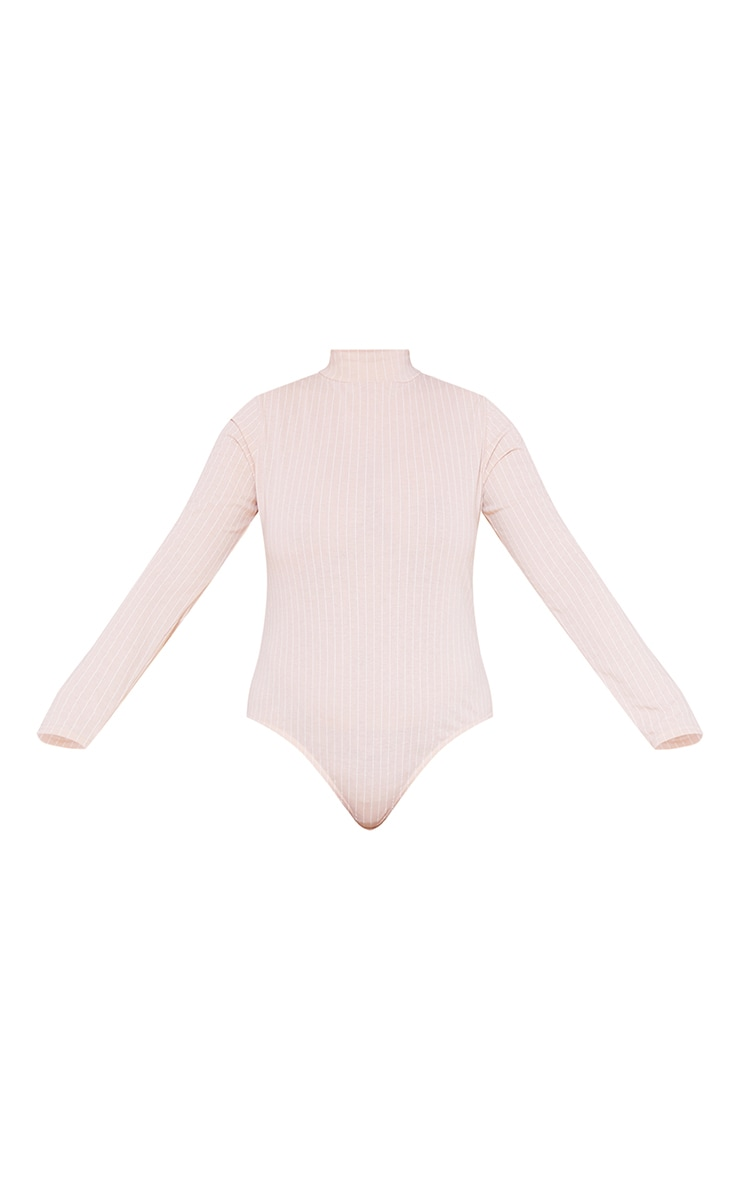 RECYCLED Plus Deep Nude Pinstripe Roll Neck Long Sleeve Bodysuit 3