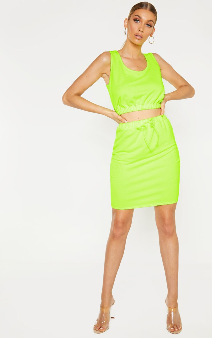 Tall Neon Lime Sweat Sleeveless Crop Top 4