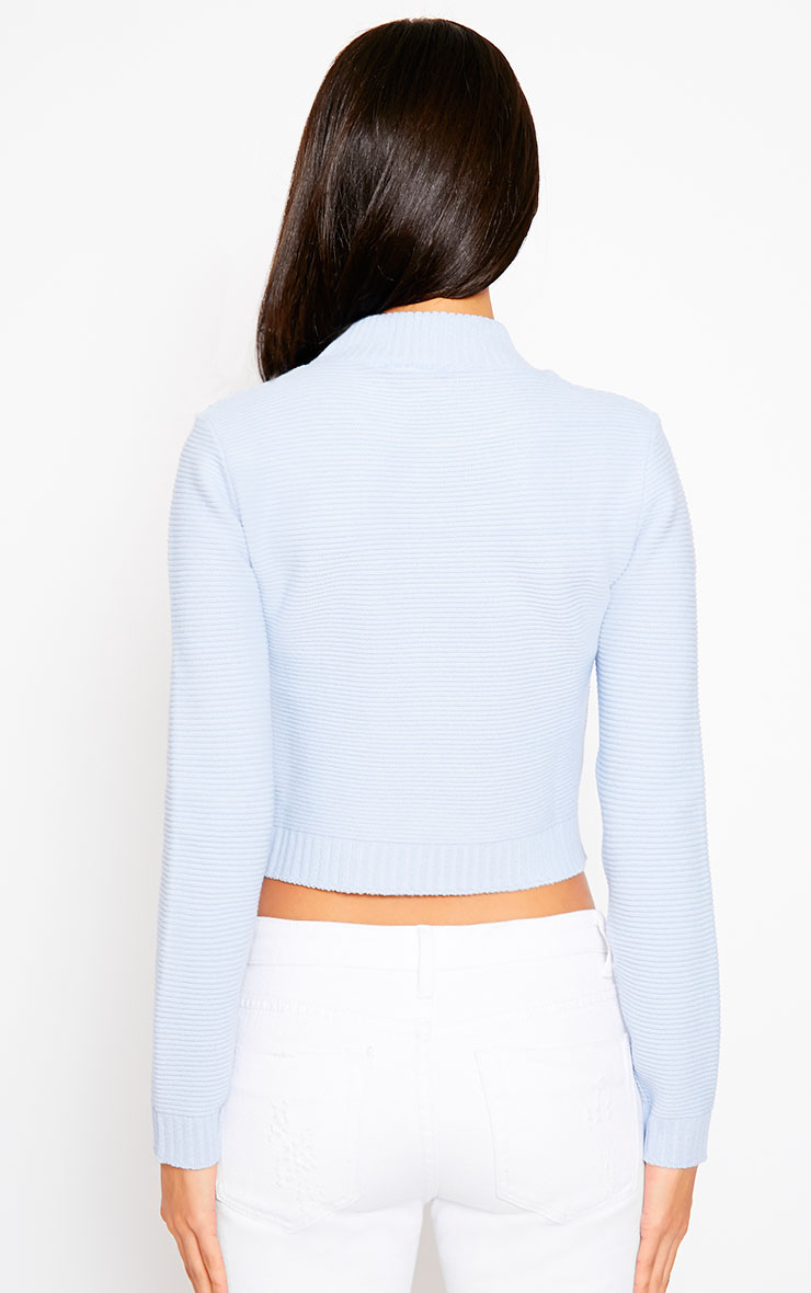 Allie Blue Ribbed Turtle Neck Crop Top 2