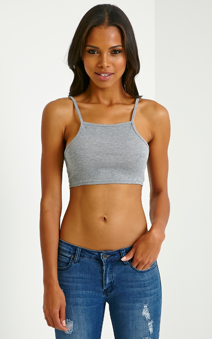 Basic Grey Ribbed Crop Vest 1