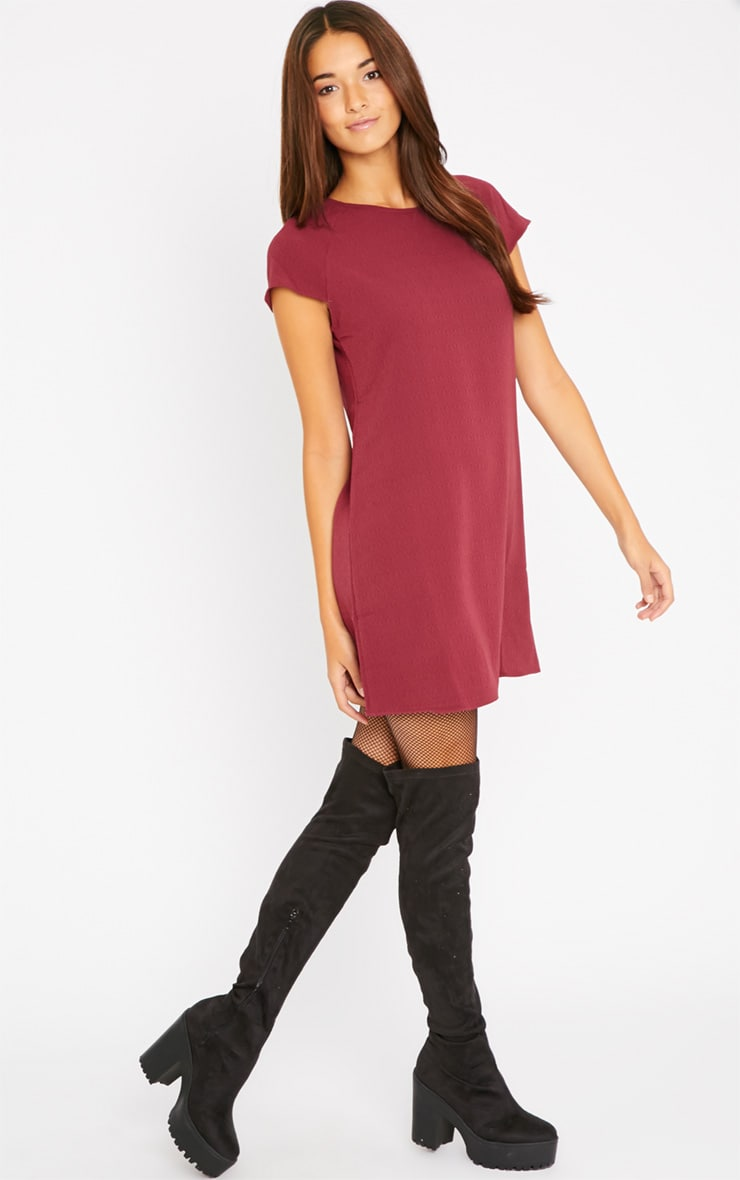 Sabra Berry Waffle Loose Fit Shift Dress 3