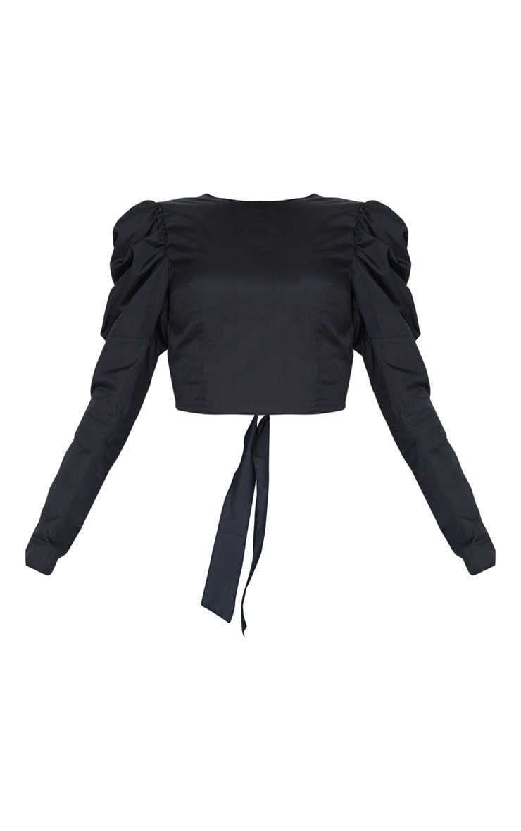 Tall Black Puff Sleeve Tie Back Blouse  3