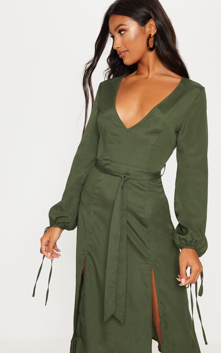 Forest Green Tie Waist Split Midi Dress 5