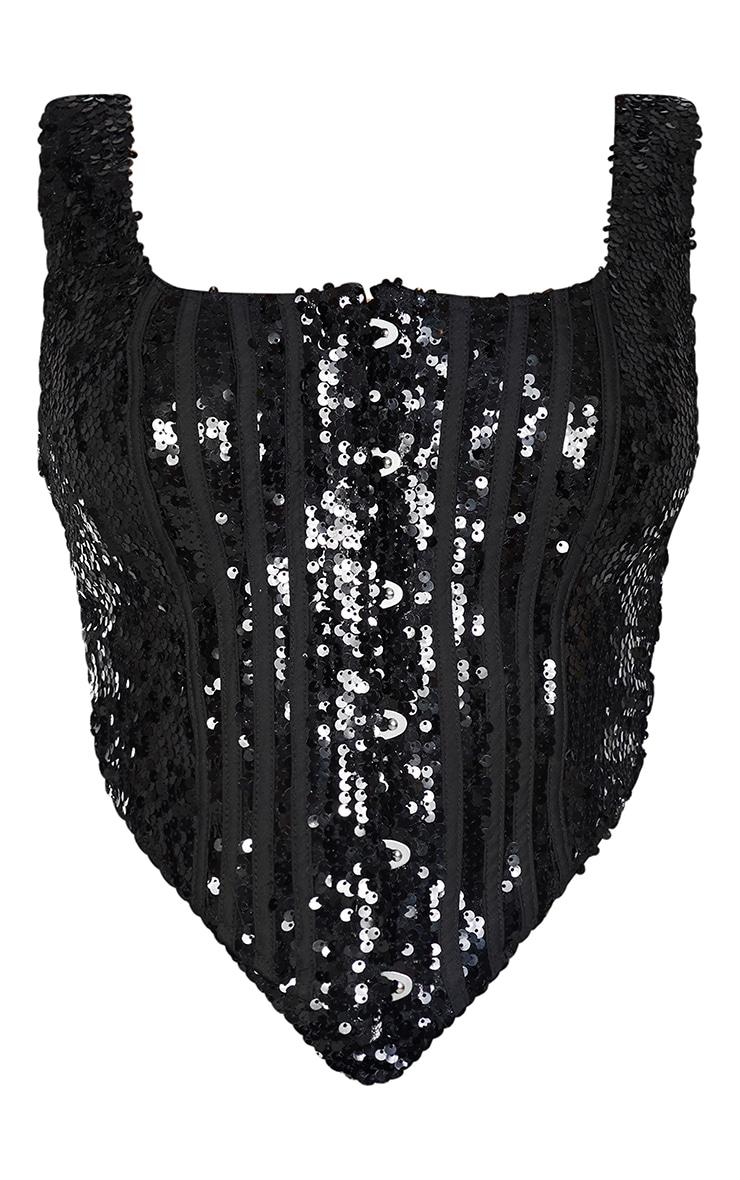 Shape Black Sequin Square Neck Corset Detail Top 5
