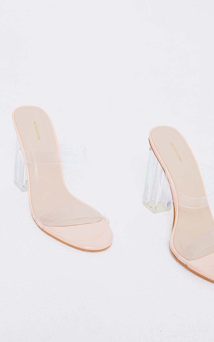 Nude Wide Fit PU Round Toe Clear Double Strap Clear Heeled Mules 4