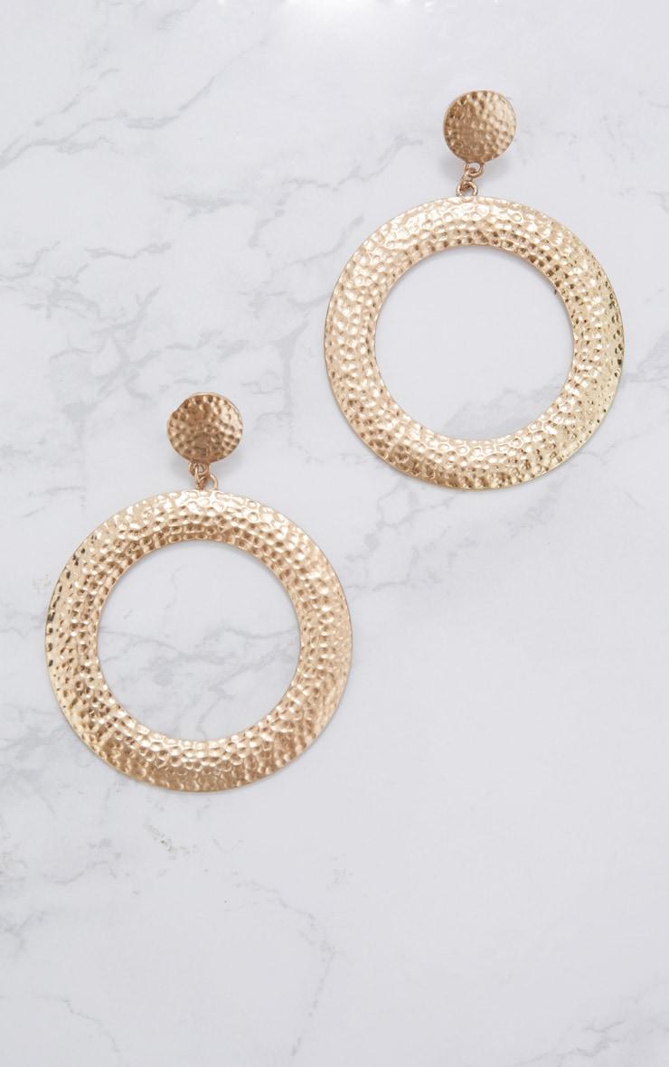 Gold Textured Stud Hoop Earrings 3
