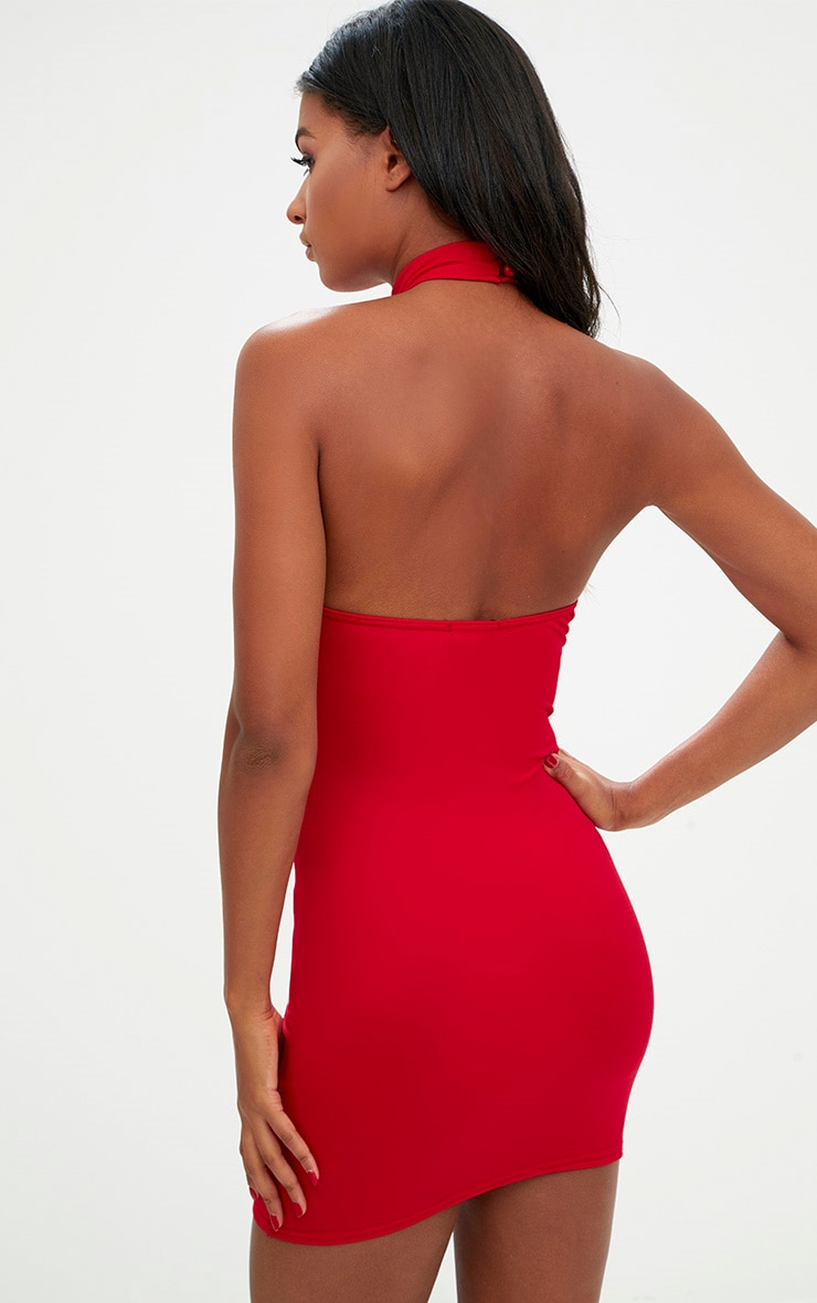 Red High Neck Plunge Front Bodycon Dress 2