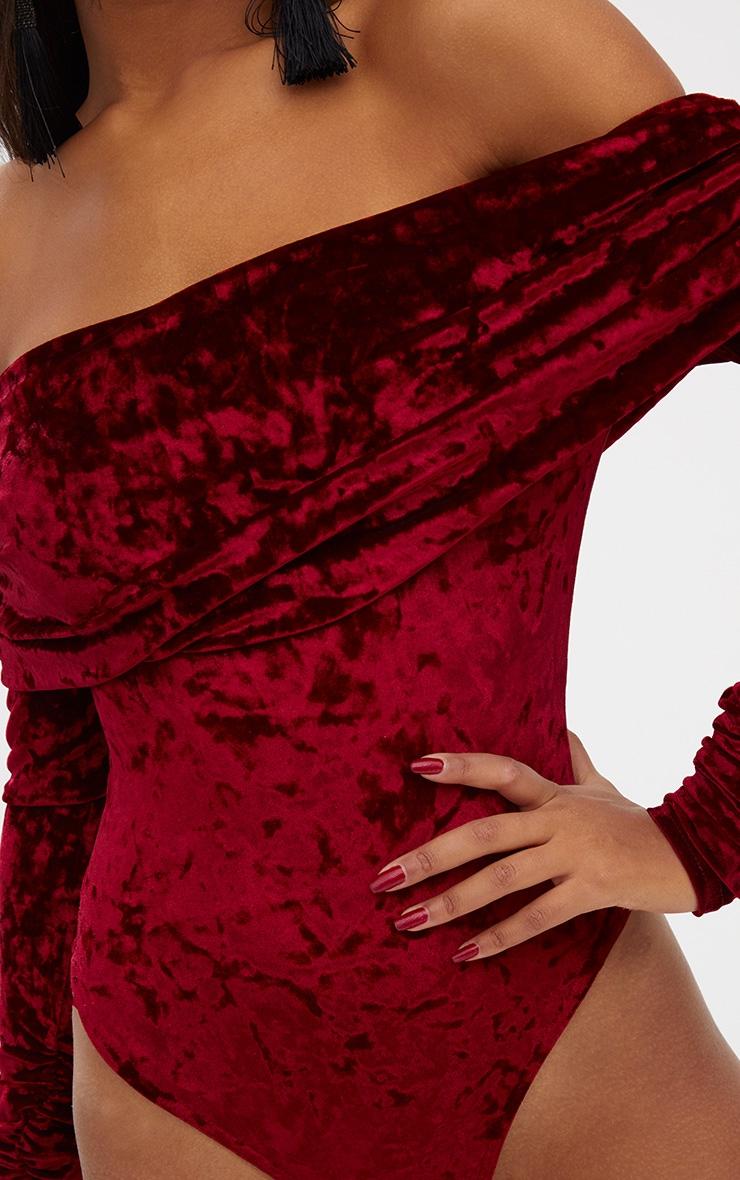 Burgundy  Crushed Velevet Ruched Sleeve Bardot Thong Bodysuit 6