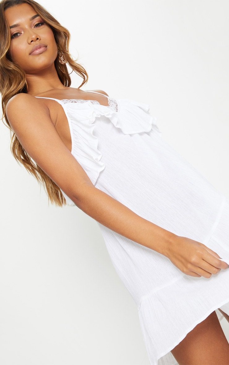 White Lace Trim Cheesecloth Smock Dress 5