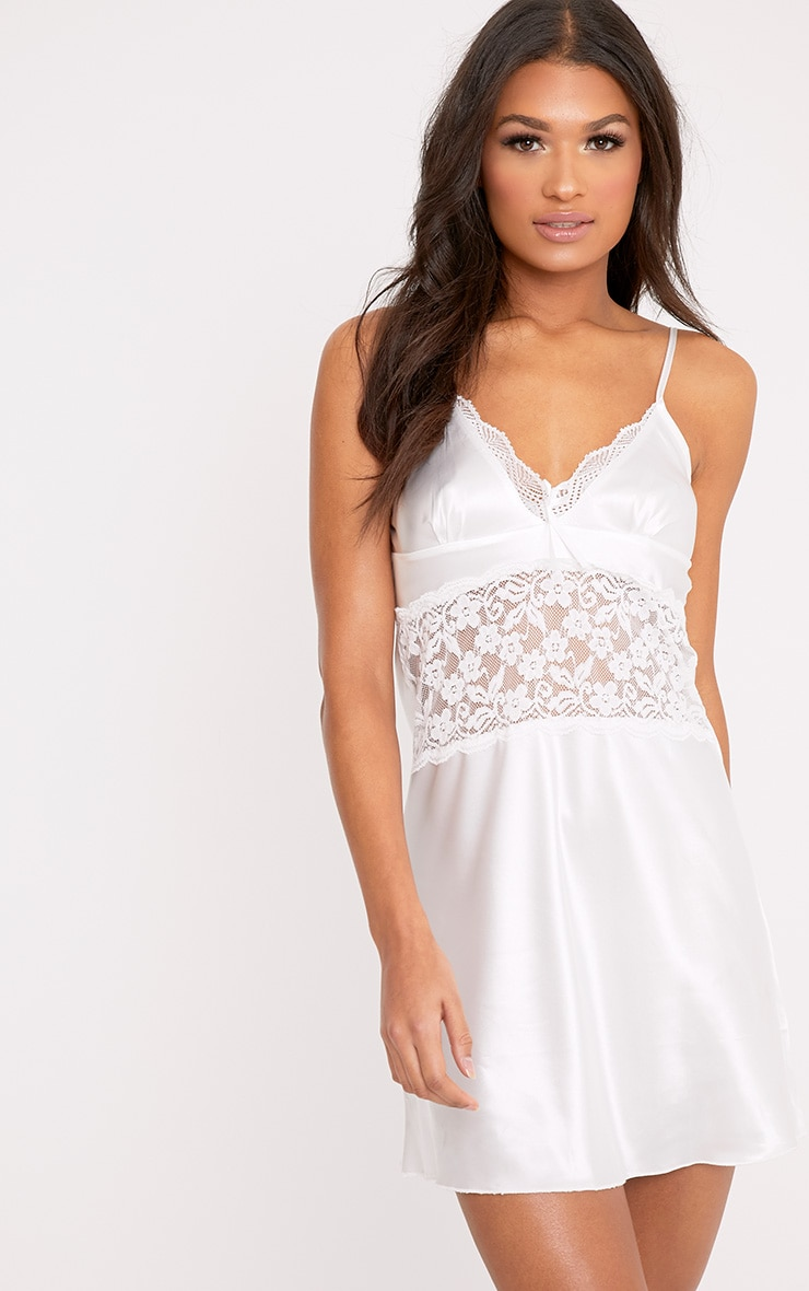 Eliana White Satin Lace Trim Nightie 1