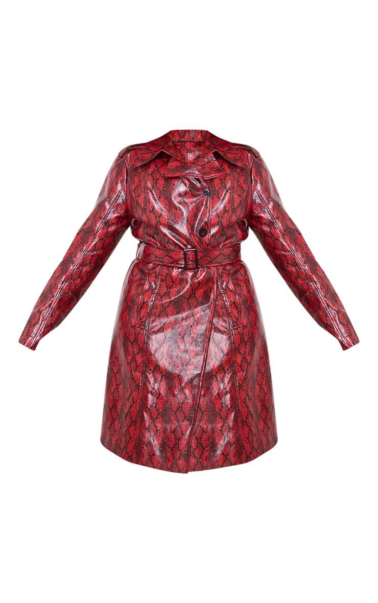 Plus Red Snake Vinyl Trench Coat 3