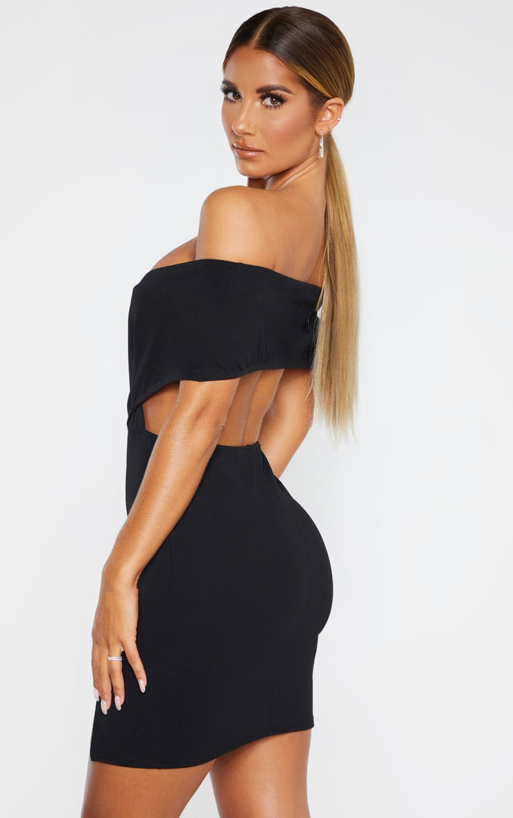 Black Bardot Thigh Split Bodycon Dress 2
