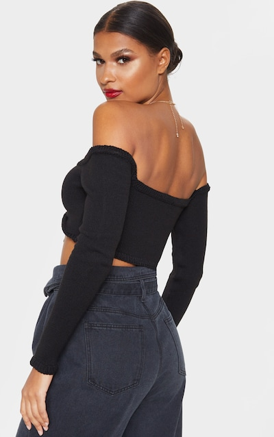Black Long Sleeve Ruched Knit Top
