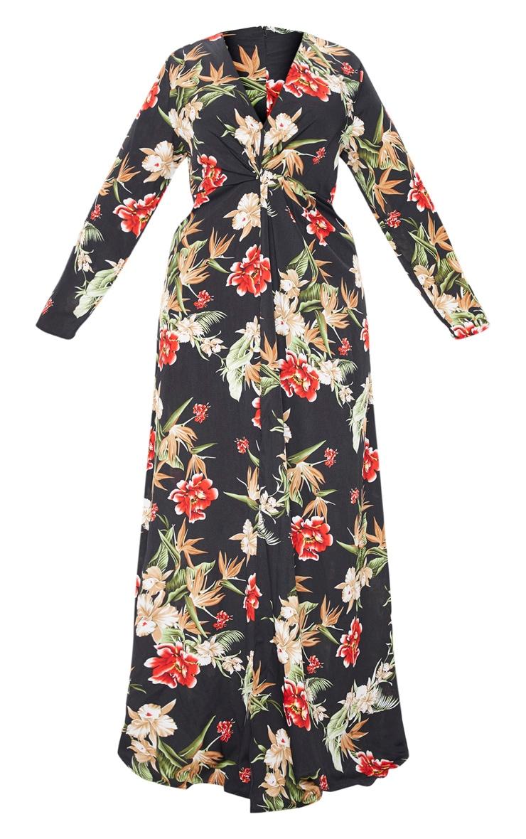 PLT Plus - Longue robe noire à imprimé floral torsadée devant 3