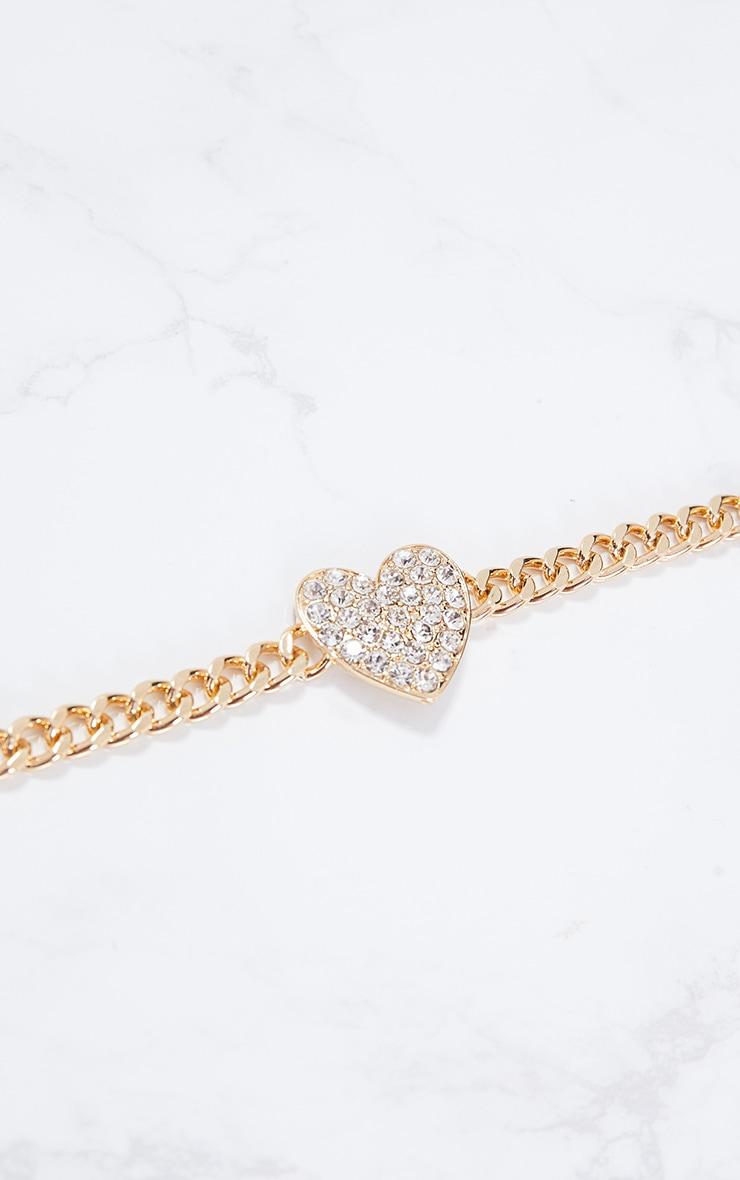 Gold Diamante Heart Chain Choker 3