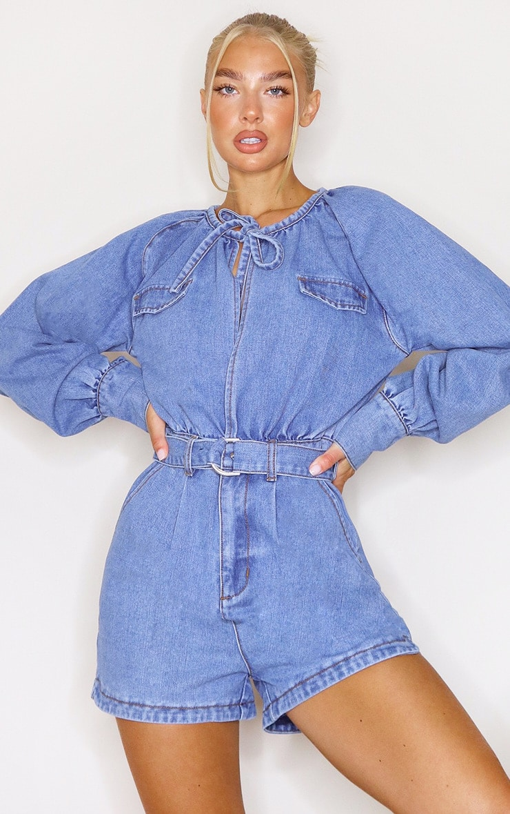 Mid Blue Wash Tie Front Balloon Sleeved Denim Playsuit 3