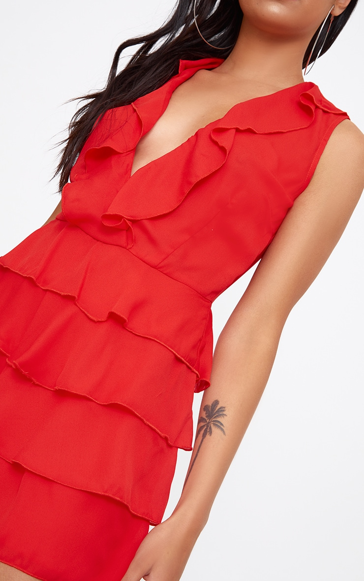 Red Ruffle Layer Playsuit 4