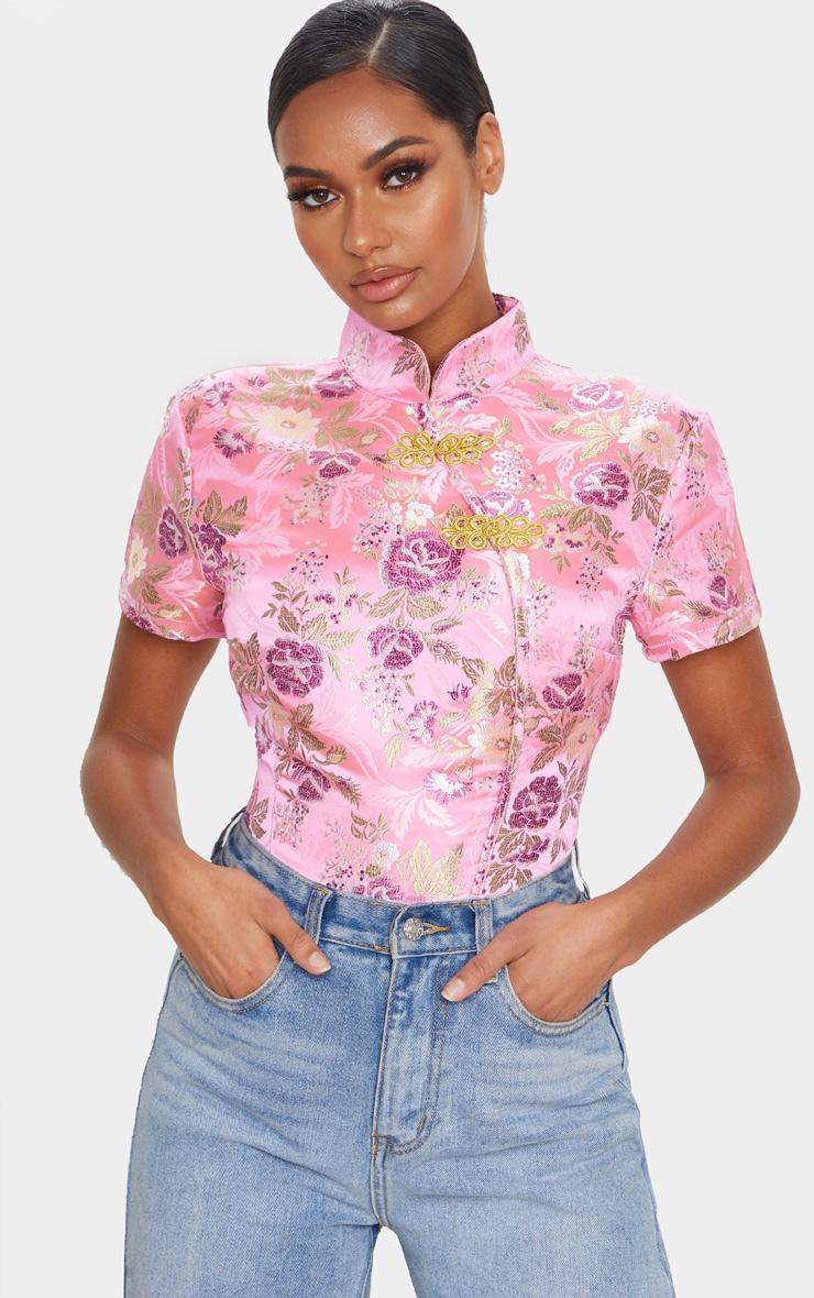Light Pink Woven Print High Neck Bodysuit 1