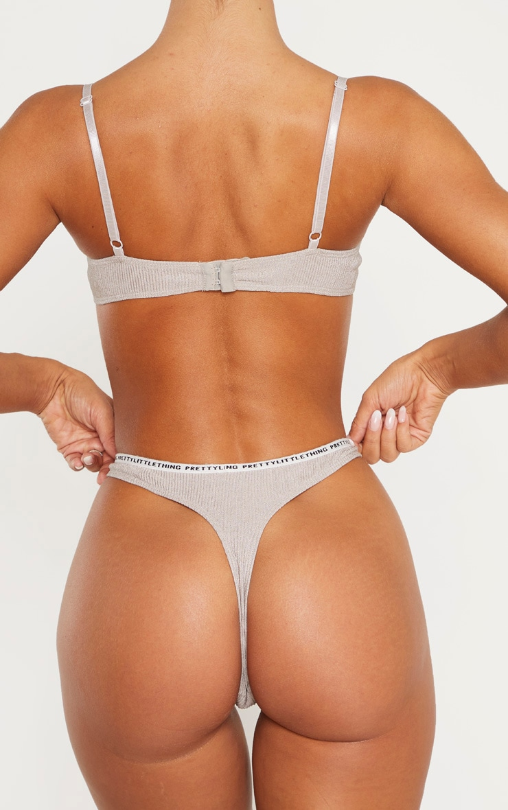 PRETTYLITTLETHING Grey Rib Thong 3