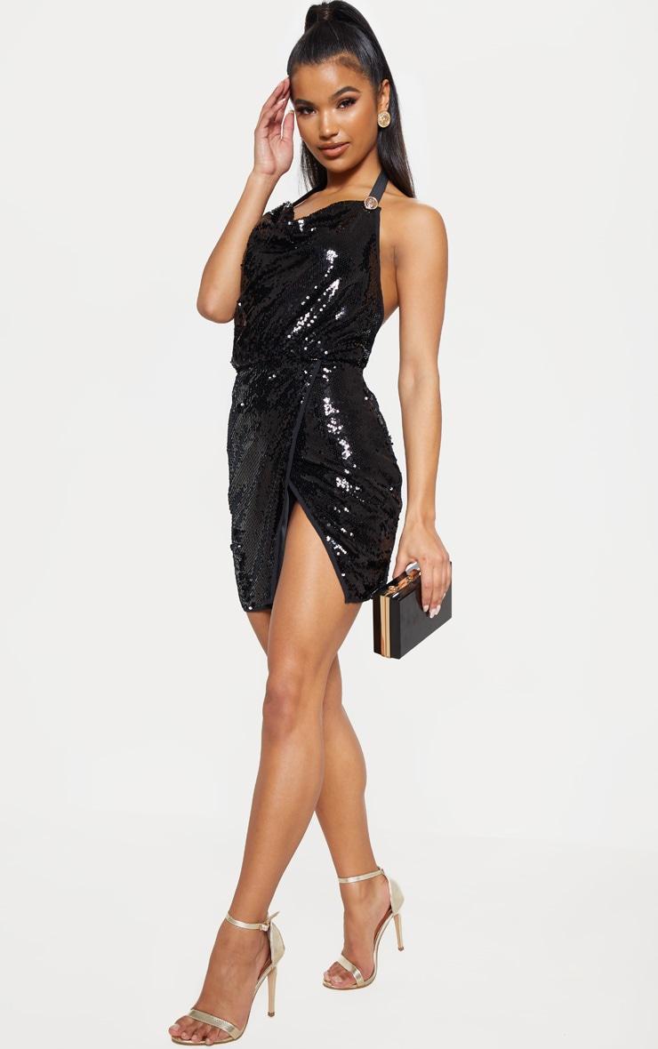 Black Sequin Cowl Neck Bodycon Dress  1