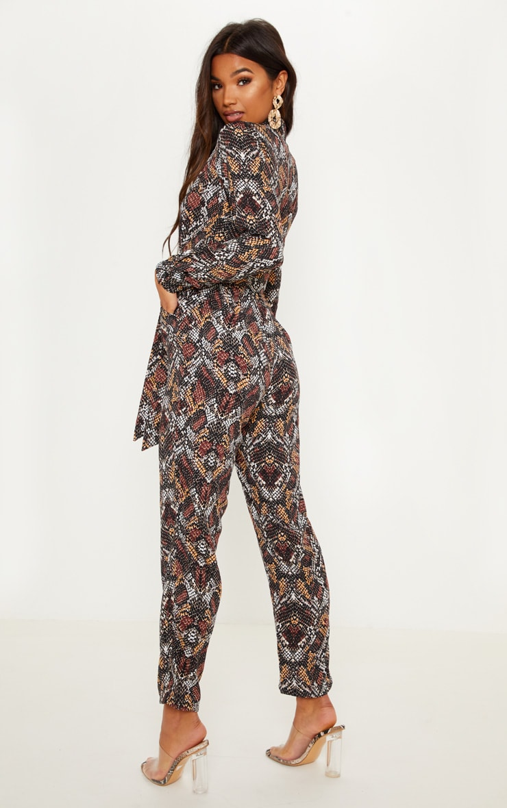 Chocolate Snake Print Jumpsuit 2
