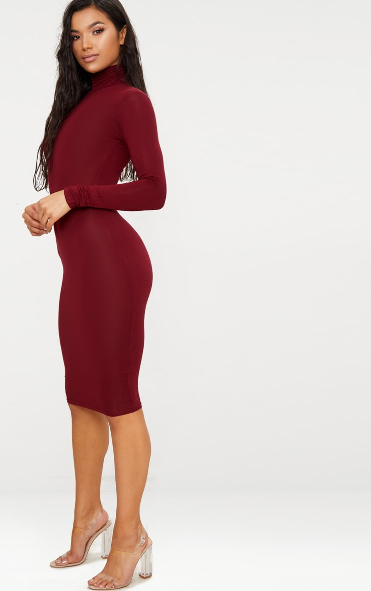 Basic Burgundy Roll Neck Midi Dress 1