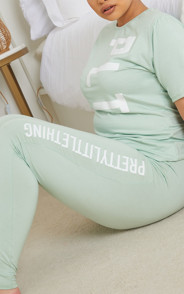 PRETTYLITTLETHING Plus Sage Green Leggings PJ Set 4