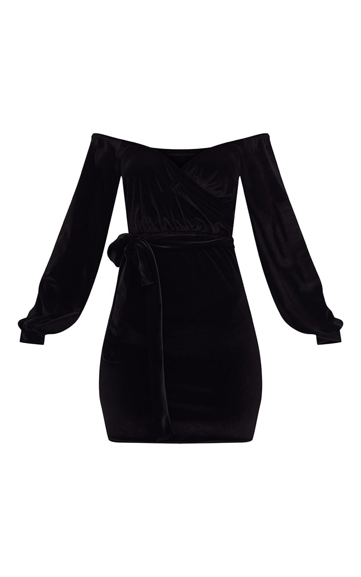 Black Velvet Balloon Sleeve Wrap Front Bardot Bodycon Dress 3
