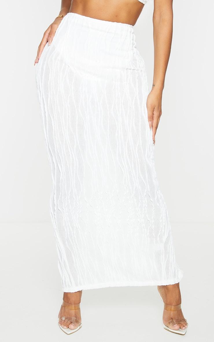 Shape White Textured Rib Midaxi Skirt 2