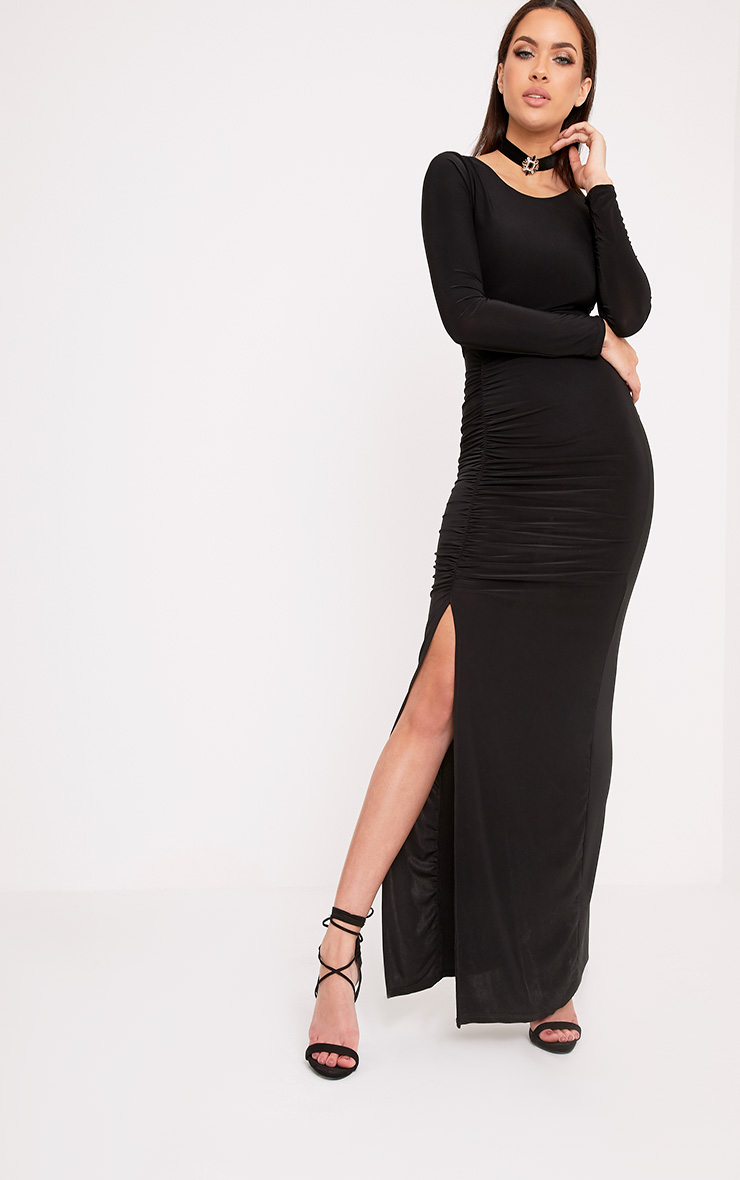 Amabel Black Ruched Side Split Maxi Dress Dresses