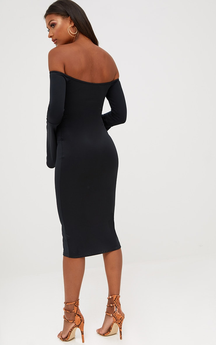 Black Bardot Flared Sleeve Midi Dress 2