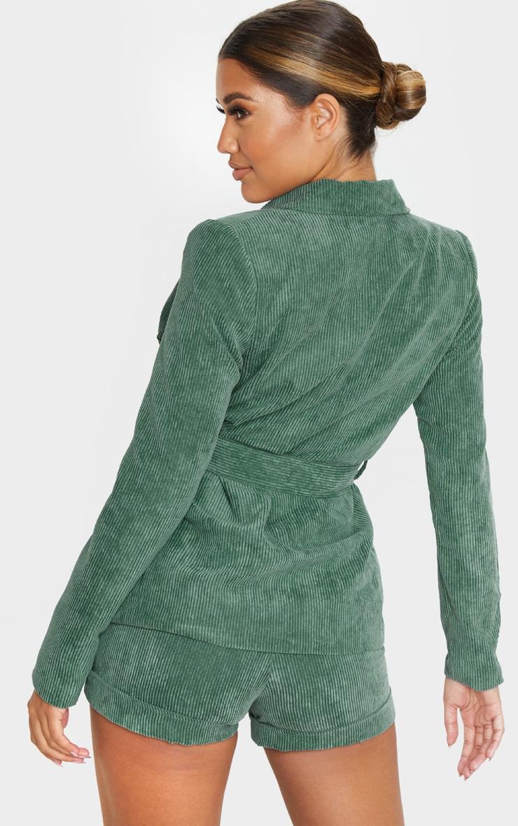 Green Cord Tie Waist Blazer Jacket  2