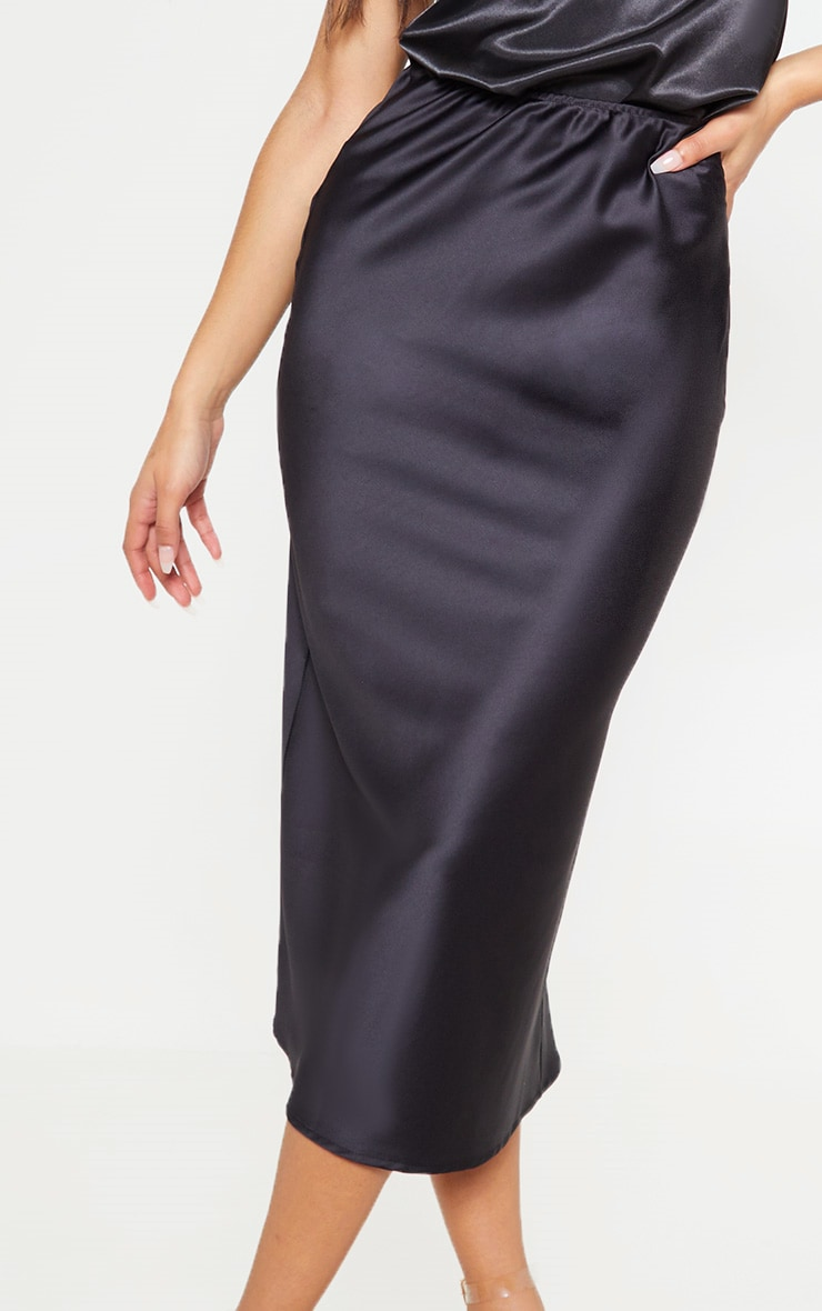 Black Satin Midi Skirt  5