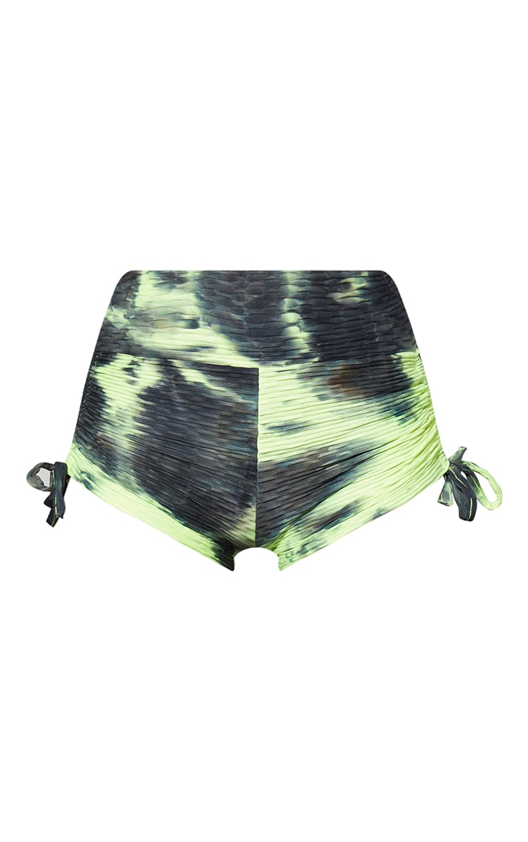 Green Tie Dye Bubble Ruched Booty Short 5