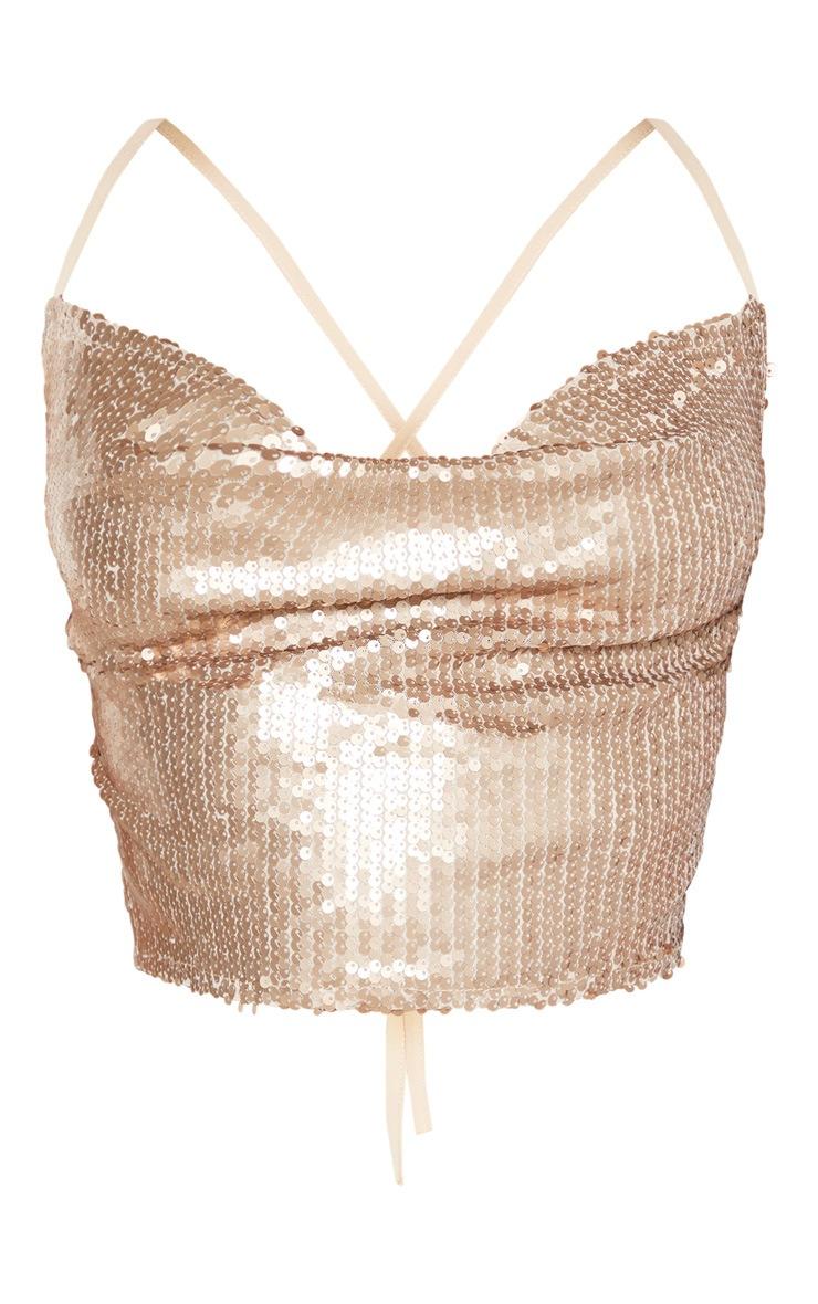 Gold Sequin Tie Back Crop Top  3