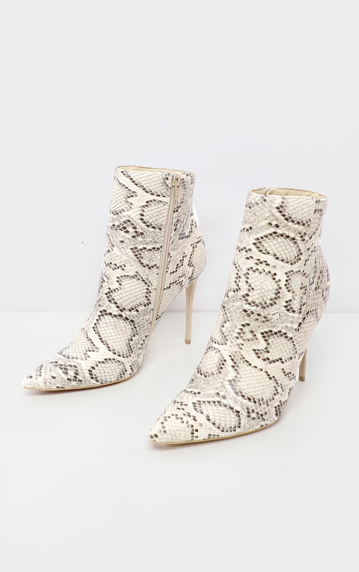Beige Snake Point Toe Stiletto Heel Ankle Boot 3